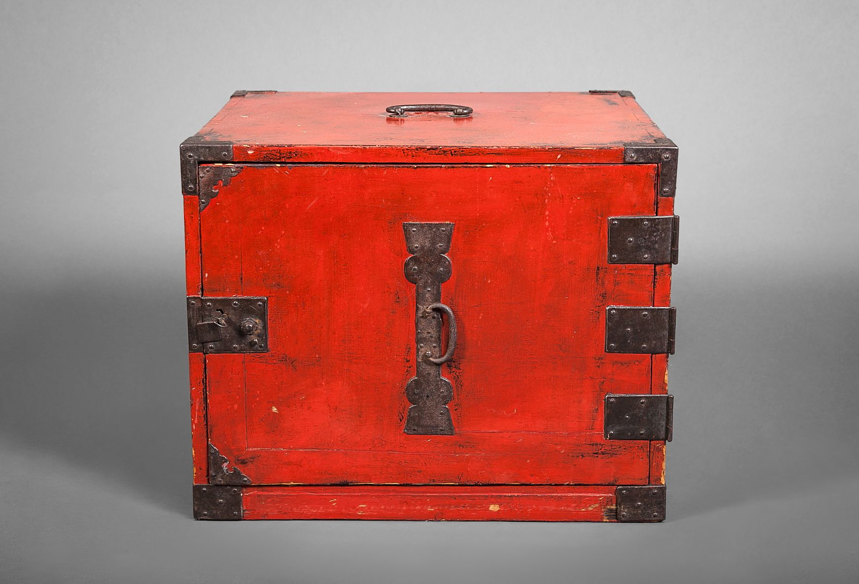 Red Lacquer Ship's Tansu (Chest) Japan 19th century