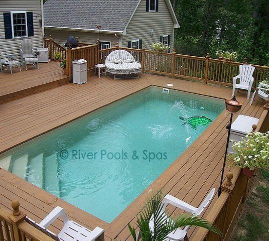 Elevated Fibergl Pool W Wood Decking Prices Above Ground Pools