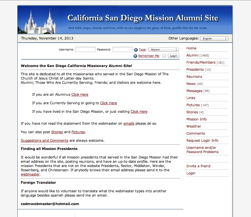 Alumni Site For The California San Diego LDS Mission