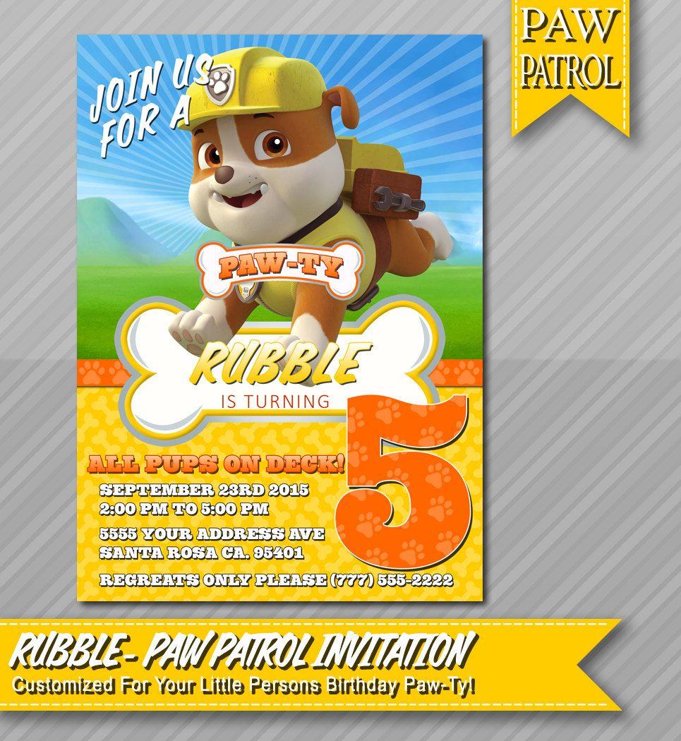 Paw Patrol Invitation Rubble
