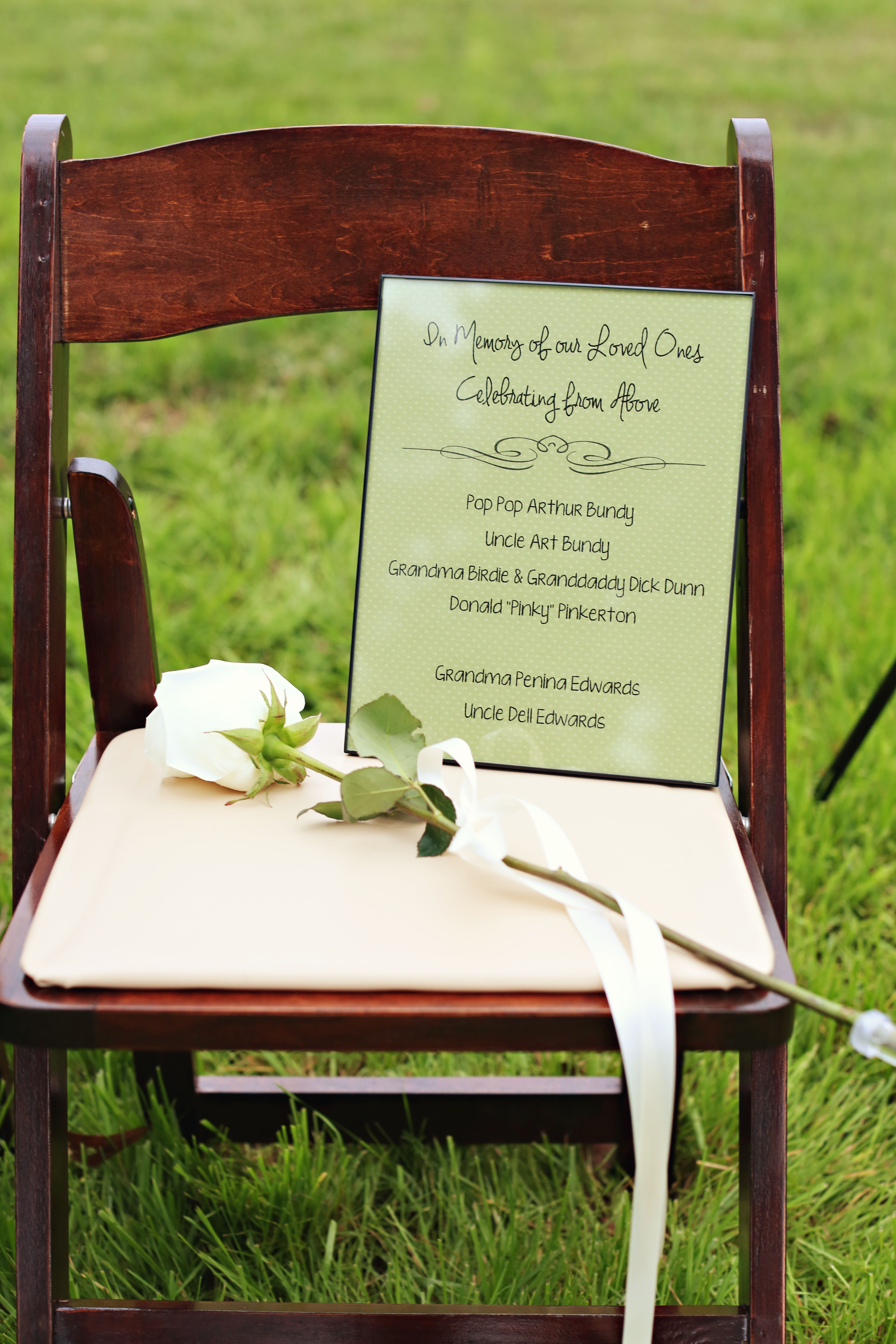 In Memory Of  chair at the ceremony  is part of Wedding -