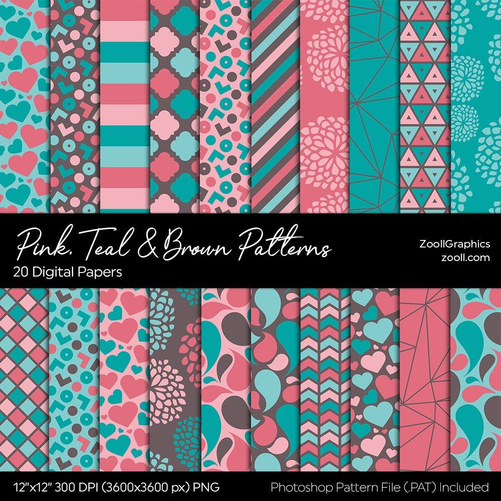 Pink Teal Brown Patterns 20 Digital Papers 12x12 Etsy In 2020 Digital Paper Watercolour Texture Background Digital Paper Free