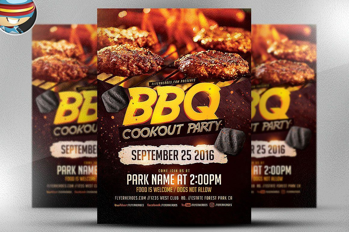 Bbq Cookout Party Flyer Template By Flyerheroes On Creativemarket