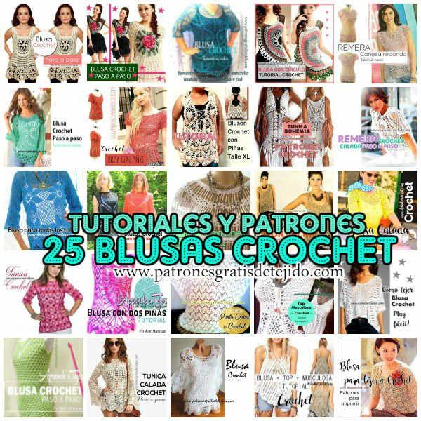 Blusas para tejer a crochet con tutoriales | Poleras, blusas ...