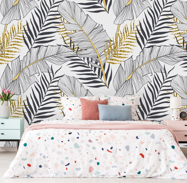 Removable Wallpaper Self Adhesive Wallpaper Tropical Gold Etsy In 2020 Peel And Stick Wallpaper Removable Wallpaper Mural Wallpaper