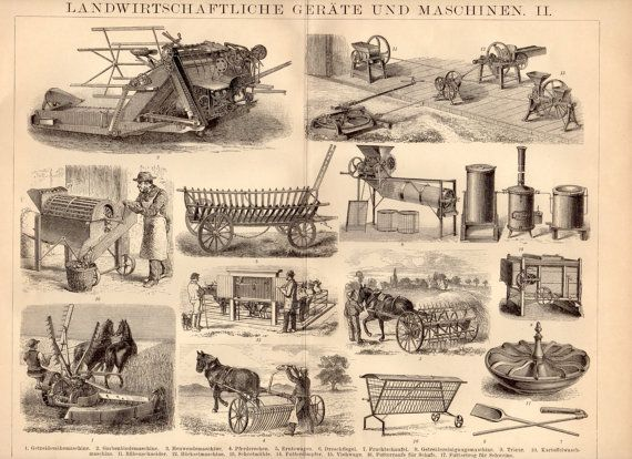 1885 Agricultural Machines Antique Print, Farming ...