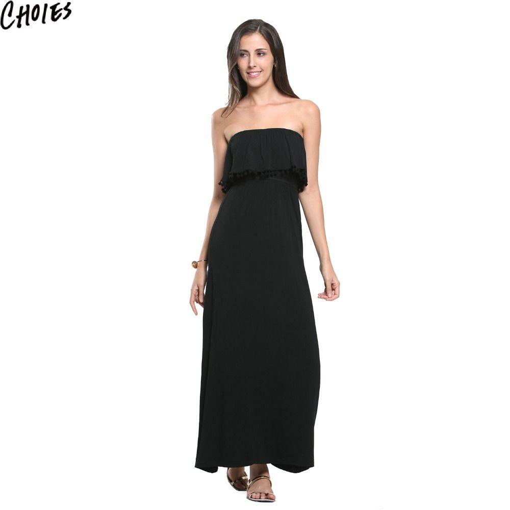 Dress up xmas games - Buy Women Black Sexy Strapless Overlay Pom Pom Drop Lined Beach Casual Maxi Dress 2017 Fashion
