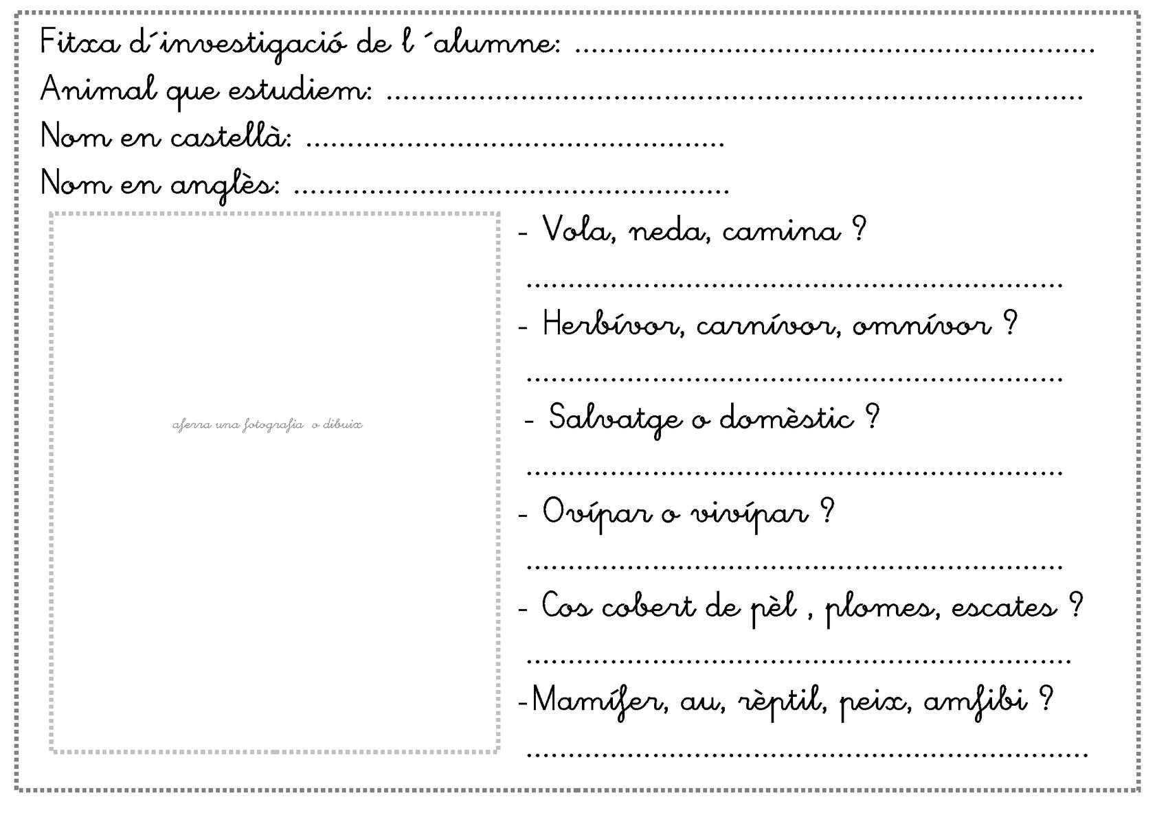 Fitxa investigació animals | Periódico escolar, Ciencia y Ciclo ...