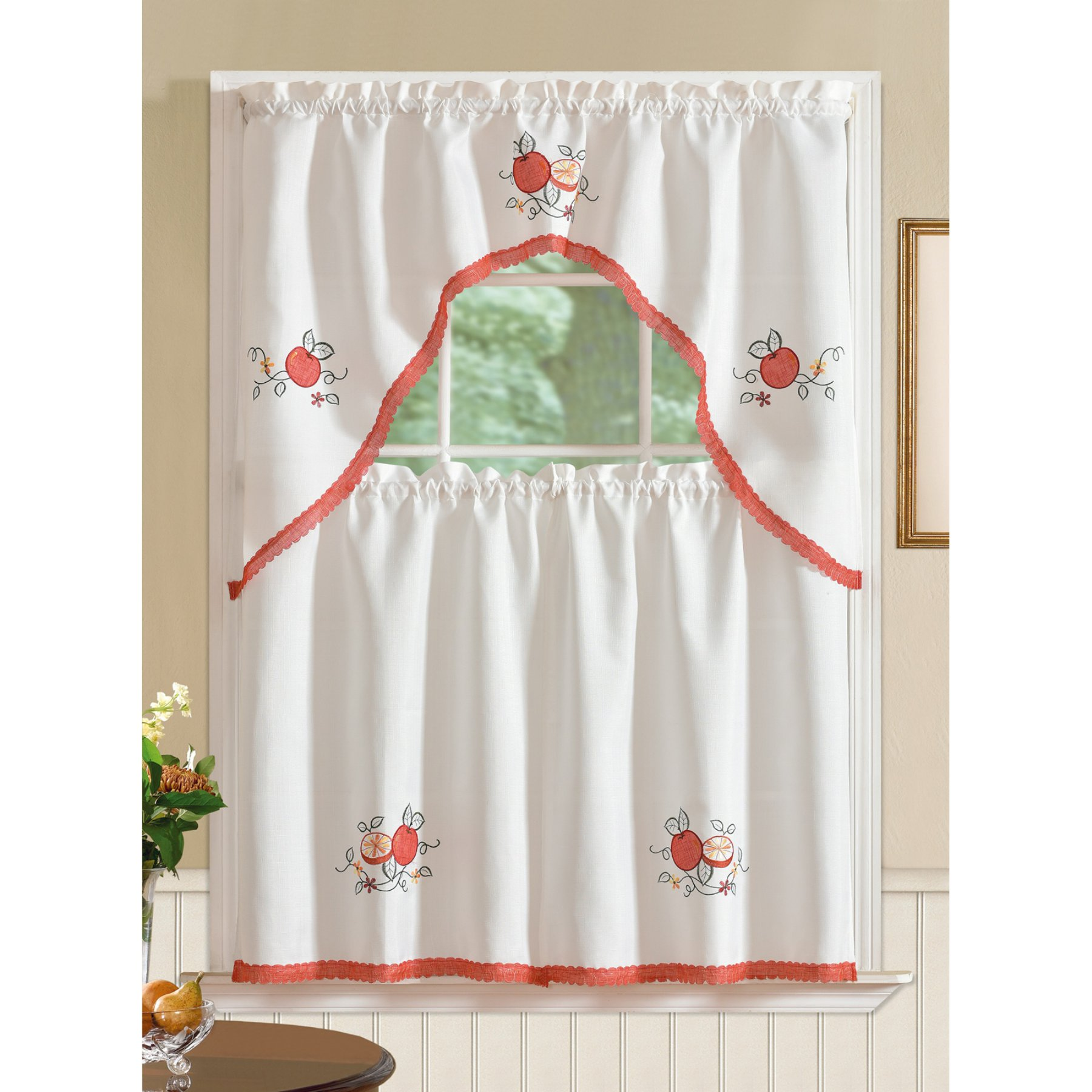 Kitchen nook window treatments  rt designers collection regal embroidered apple kitchen curtain tier