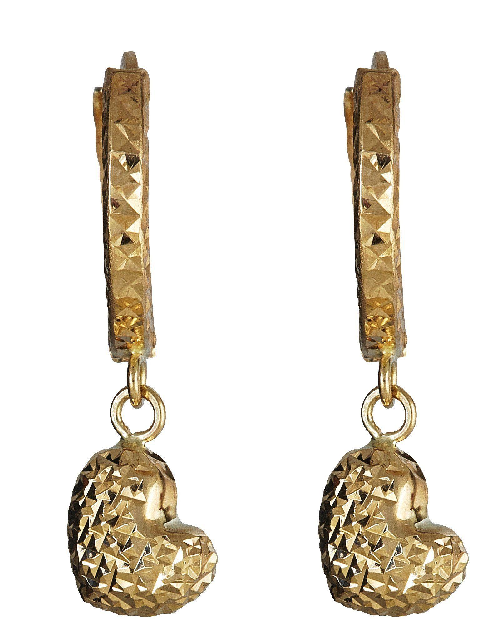 14K Yellow Gold Diamond Cut Heart Huggie Earring 14K SOLID GOLD
