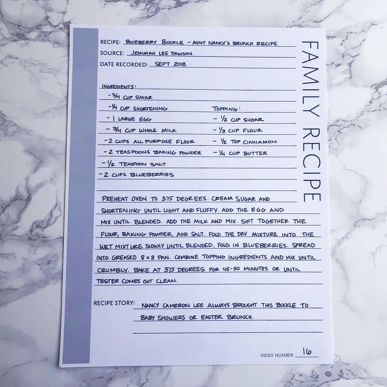 Family Recipe: Printable Genealogy Form For Family History