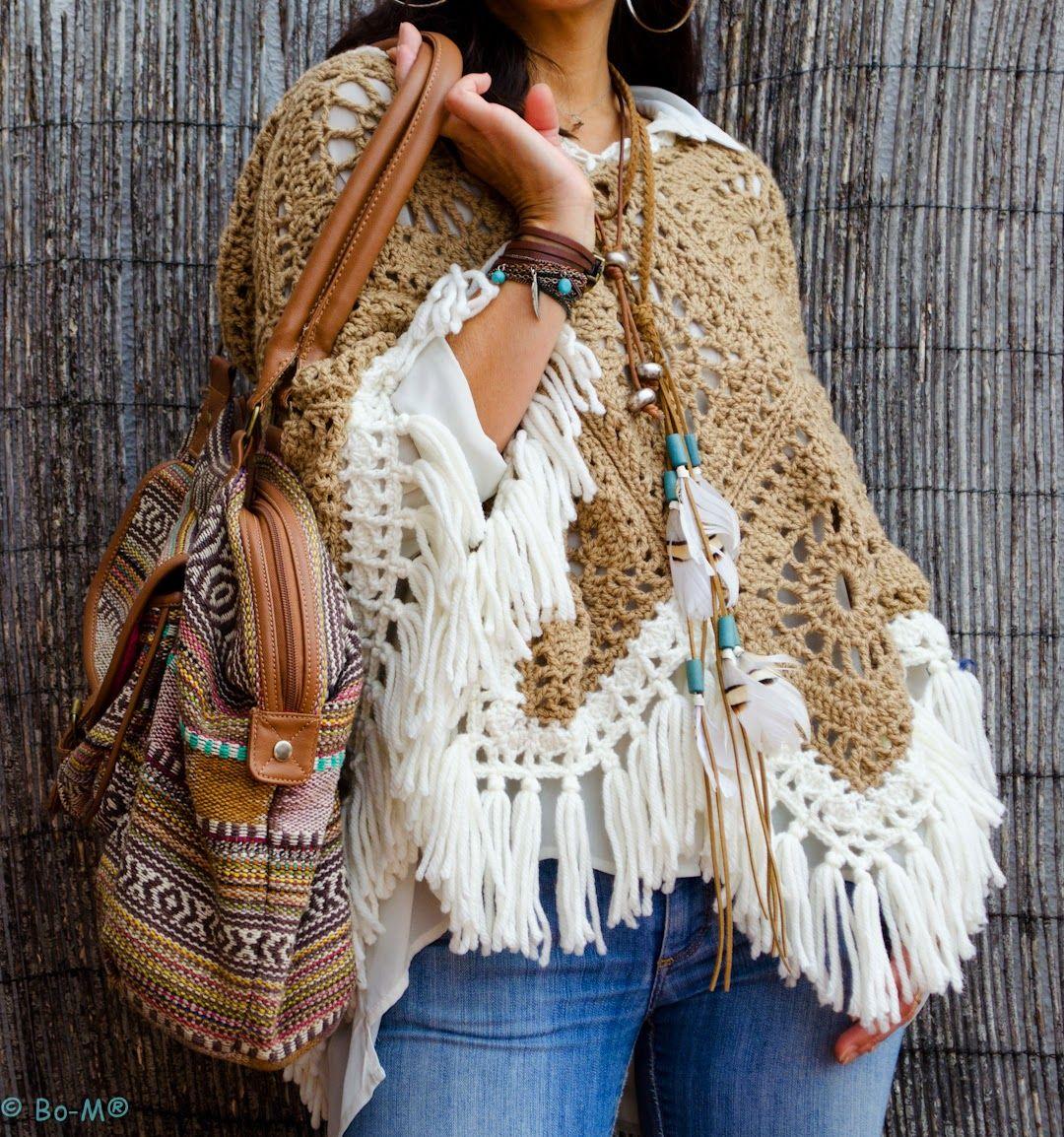 Poncho feito à mão em crochet
