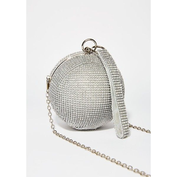 Silver Disco Ball Purse 32 Liked On Polyvore Featuring Bags Handbags Clutches Party Purses White Handbag And