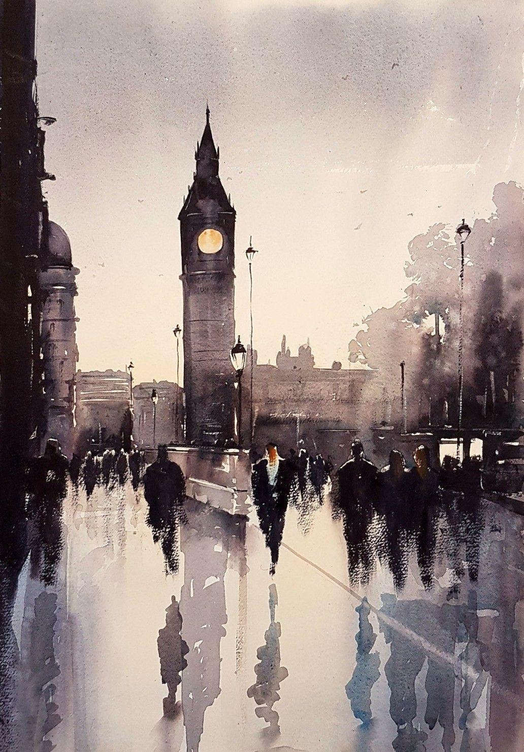 Big Ben London Watercolour London Painting Watercolor City