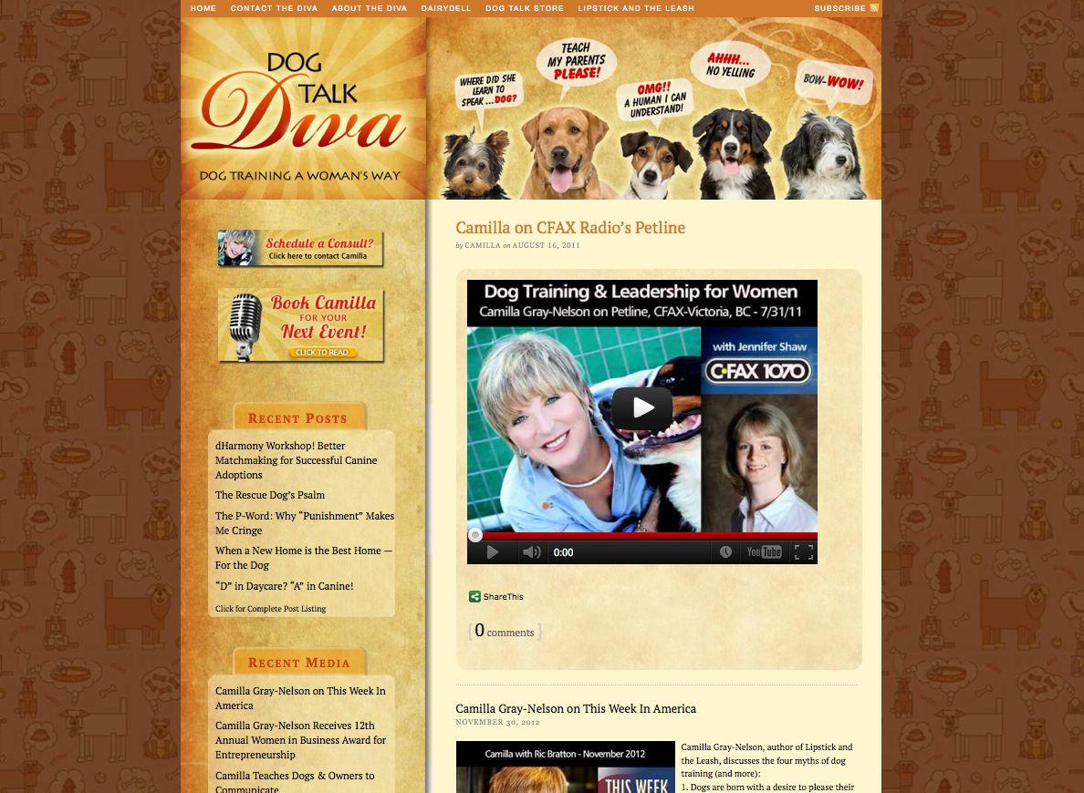 Web Site Design For Dog Talk Diva By Grey Visual In Santa Rosa California Web Design Visual Marketing Website Design