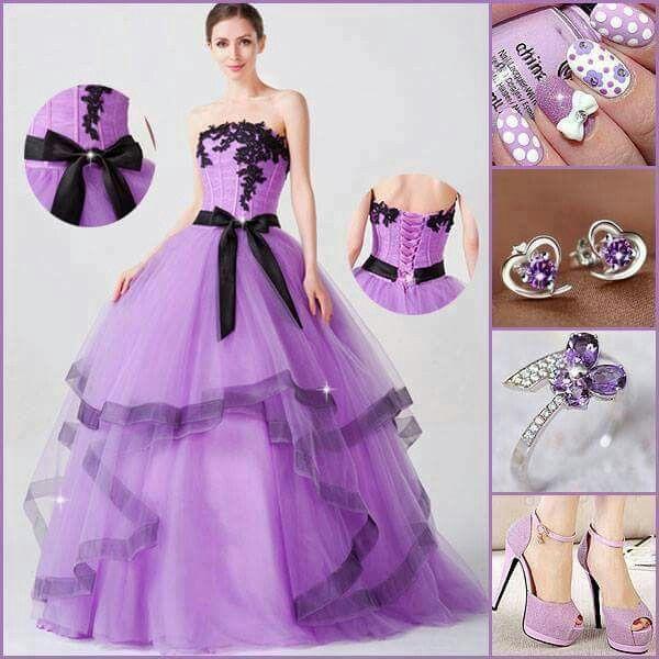 7e69f95ae Color lila hermoso   Vestidos   Vestidos, 15 años vestidos de y Xv ...