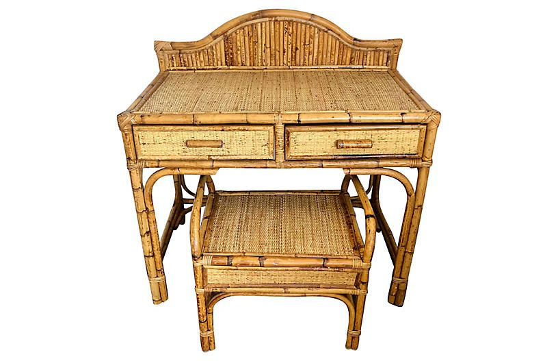 Bamboo Rattan Vanity Bench Rattan Dressing Table Vanity Vanity Bench