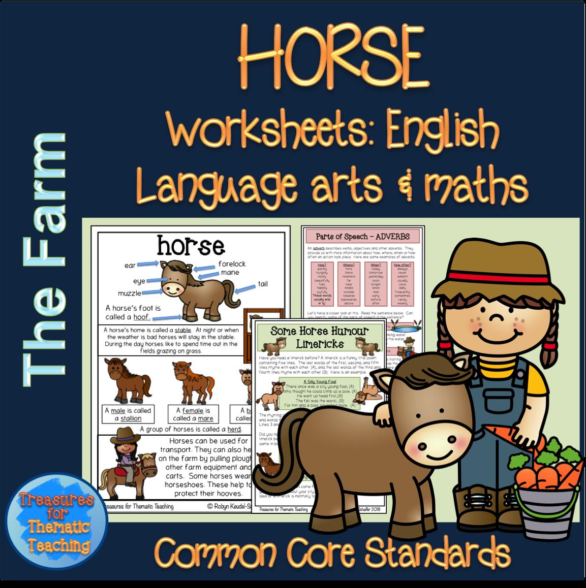 Farm Theme Horse Pack Reading Writing Language And Math