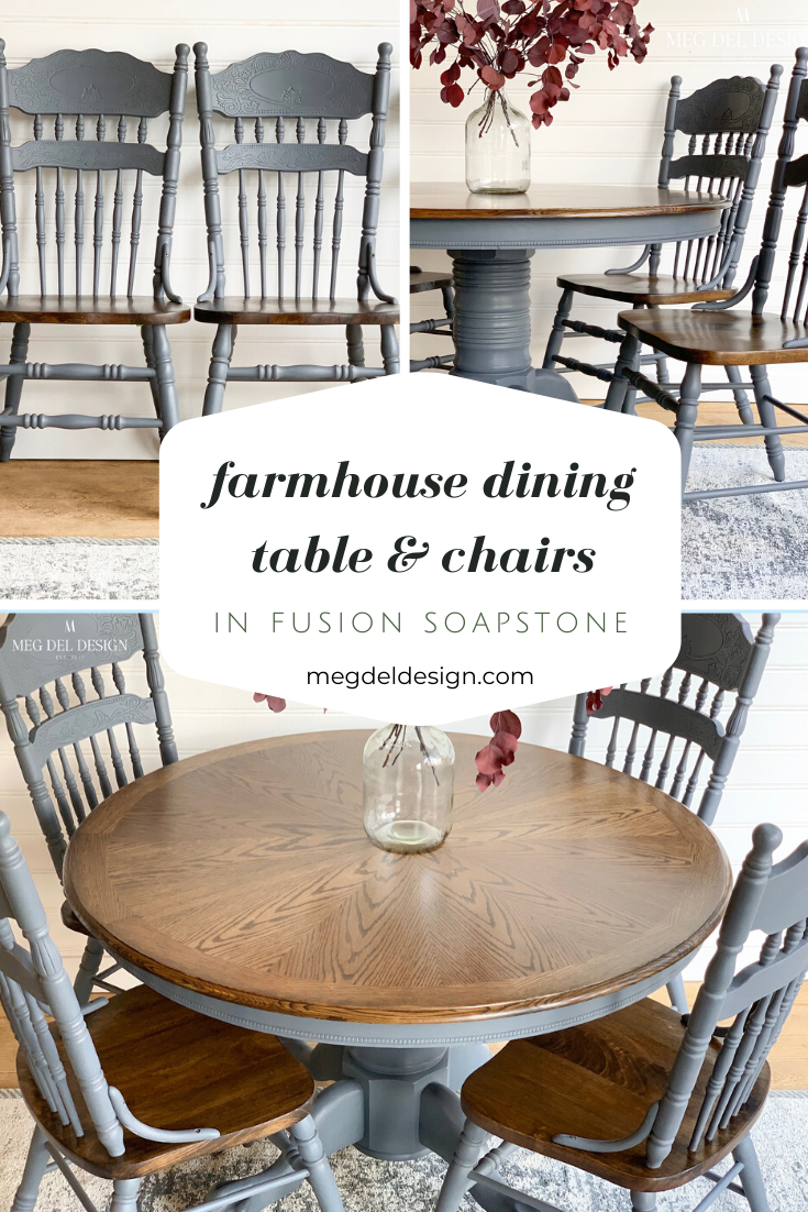 Farmhouse dining table and chairs painted in fusion mineral paint ...