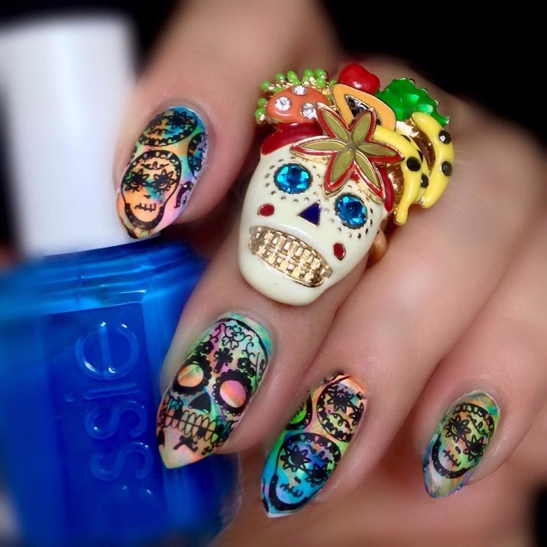Day of the Dead Nail Art - Día de los Muertos Decoración de UÑAS Día ...