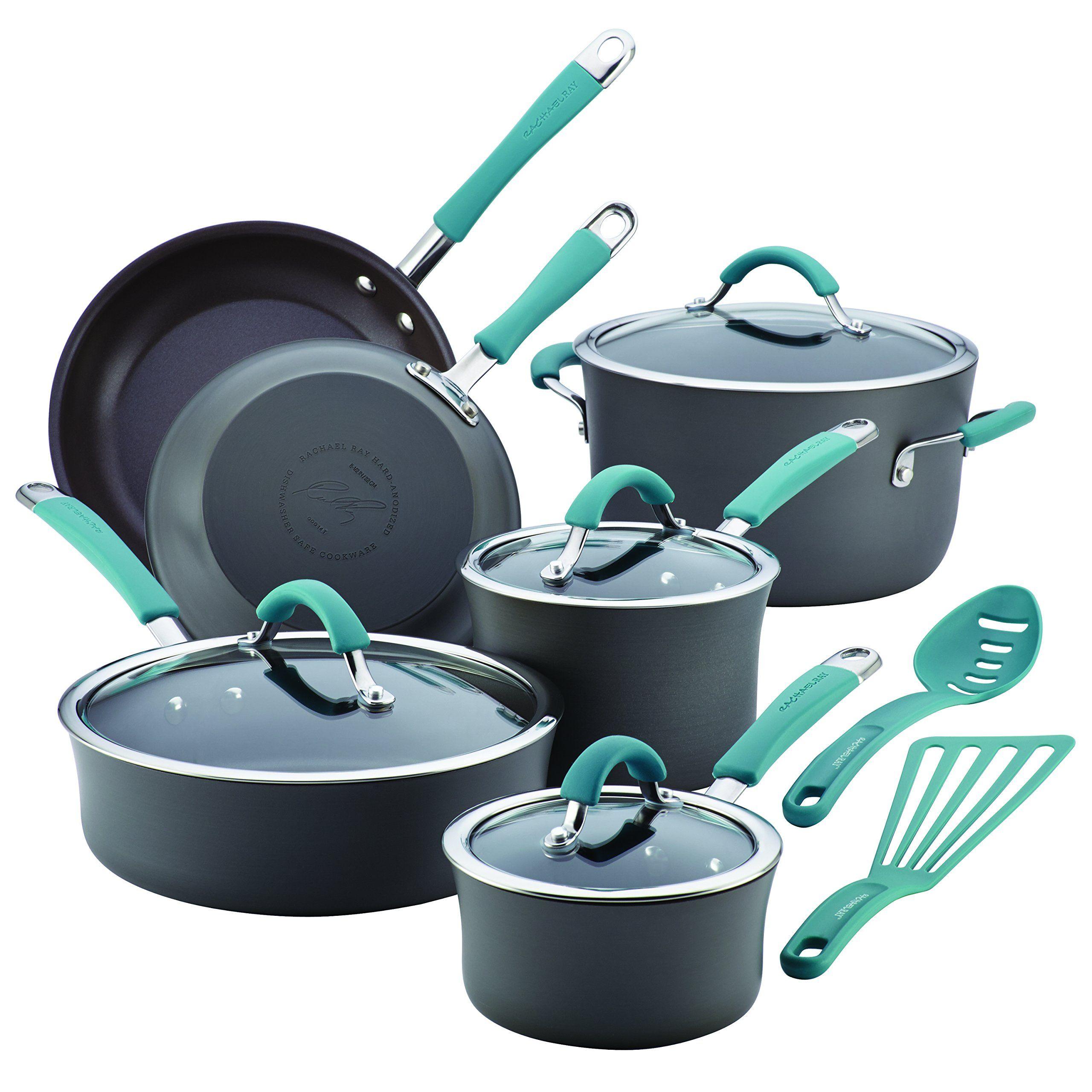 Rachael Ray Cucina 87641 12-Piece Cookware Set, Gray,Agave Blue ...