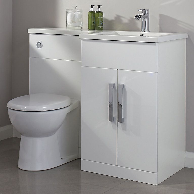 Cooke Lewis Ardesio Gloss White Rh Vanity Toilet Pack Diy At B Q In 2020 Bathroom Vanity Units Toilet Vanity Unit Bathroom Cabinets Uk