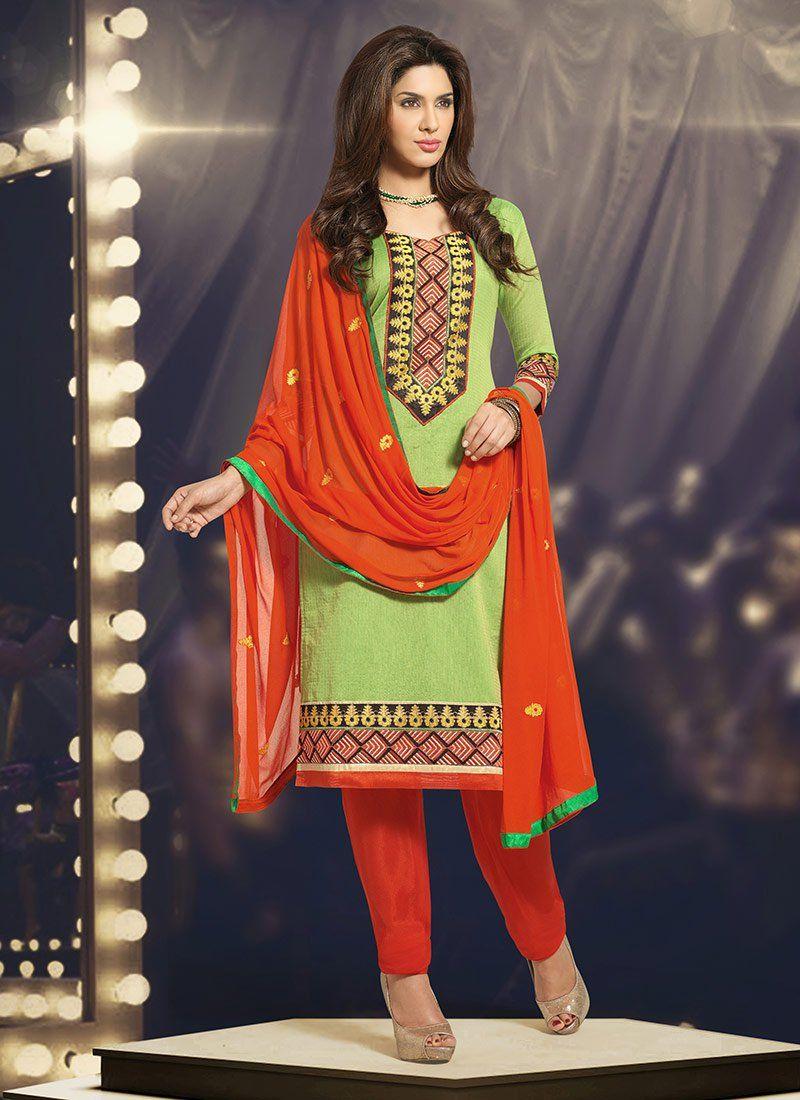 Green Chanderi Cotton Churidar Suit