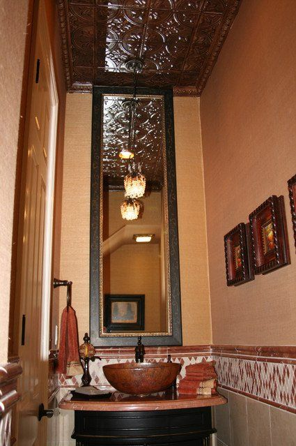 Long Narrow Powder Room Design With Tin Ceiling Tall