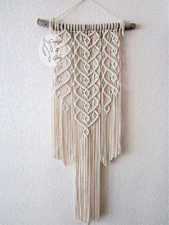 Macrame wall hanging sprigs 6 handmade macrame home - Tapices de macrame ...
