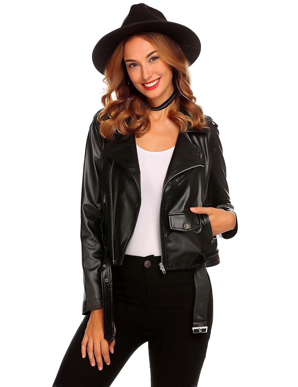 Women's Faux Leather Motorcycle Biker Short Coat Jacket