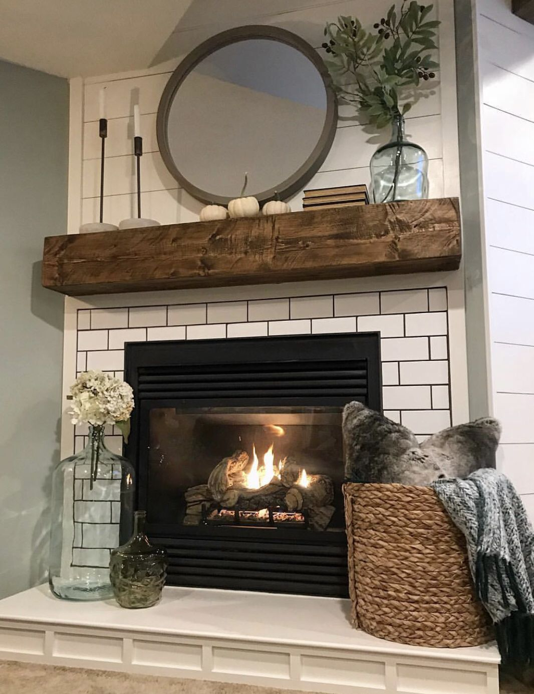 Mantle and Fireplace in 2020 | Home fireplace, Living room ...