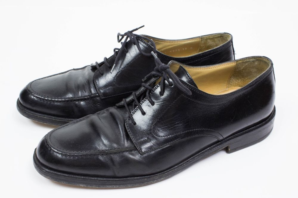 JOHNSTON & MURPHY CELLINI BLACK LEATHER WINGTIPS LOAFERS MENS 8.5 M SHOES ITALY