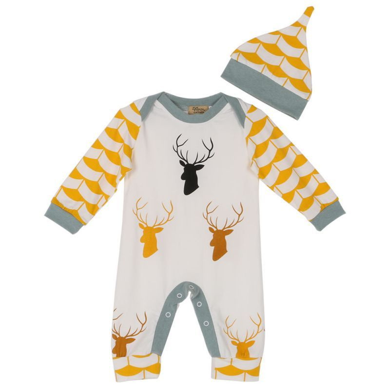 Newborn Baby Girl Cartoon Cute Deer Romper Bodysuit Jumpsuit Sets Summer Clothes