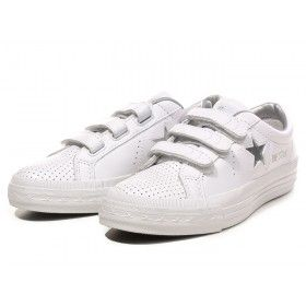 Converse One Star Velcro Leather Shoes White Silver