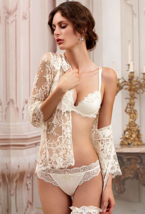 f6638c3ed38 Bridal lingerie ivory bra and panty set with lace see through robe and  garter