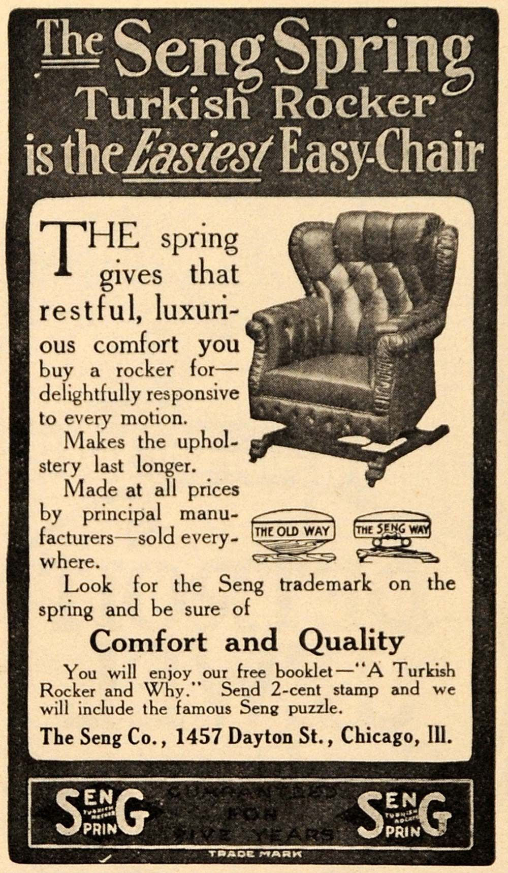 1910 Ad Seng Spring Turkish Rocker Easy Chair Furniture - ORIGINAL GH3  sc 1 st  Pinterest & 1910 Ad Seng Spring Turkish Rocker Easy Chair Furniture - ORIGINAL ...