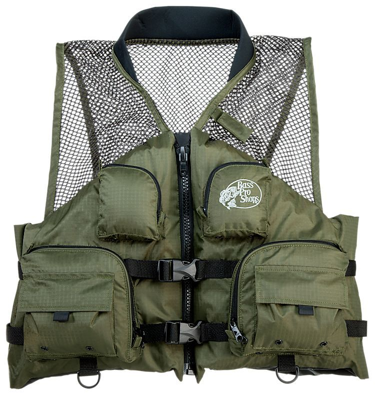 Bass pro shops deluxe mesh top life jacket for men hunter for Bass fishing life jacket