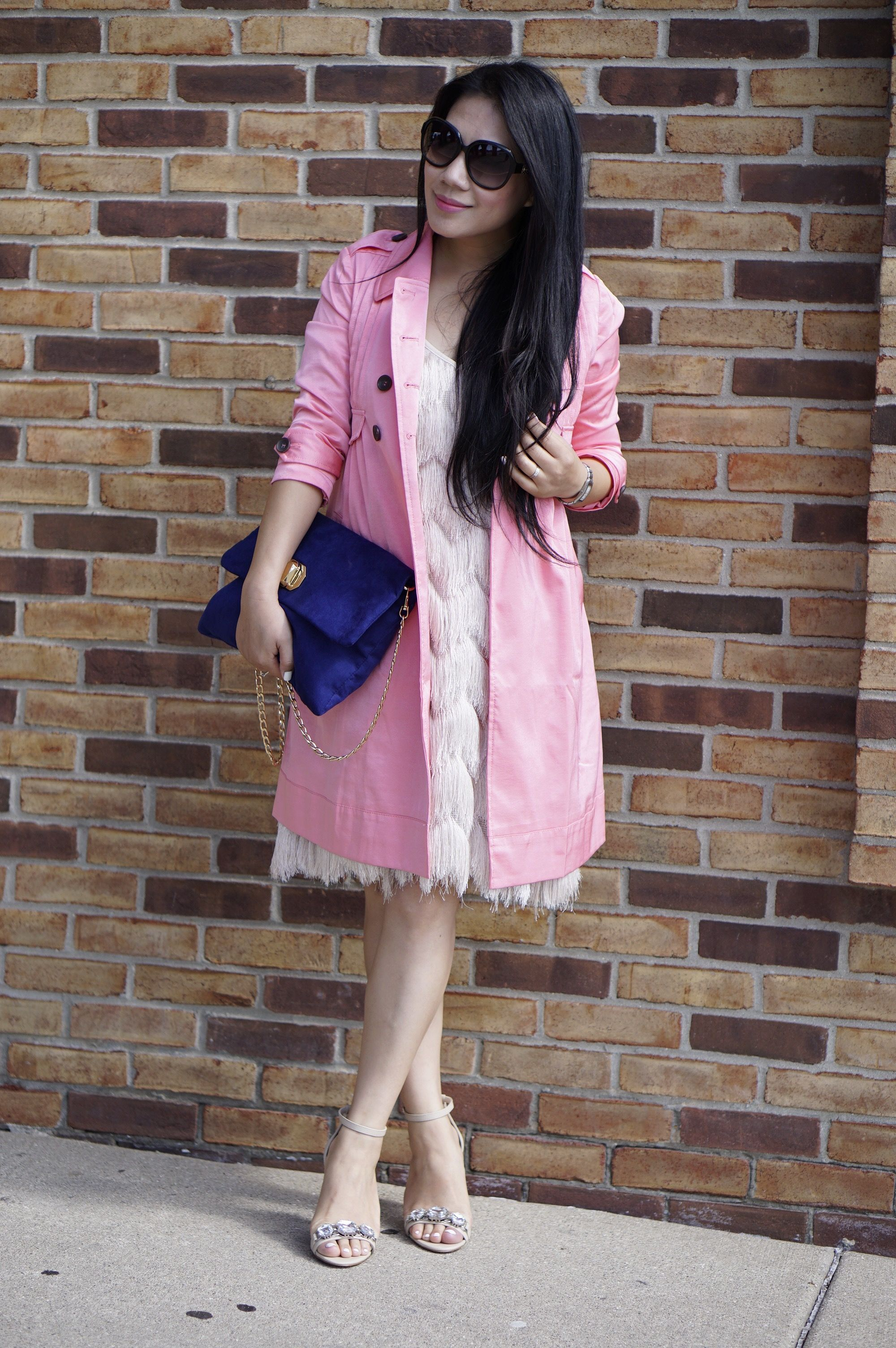 petite fashion-street style-pink trench coat- flapper's dress ...