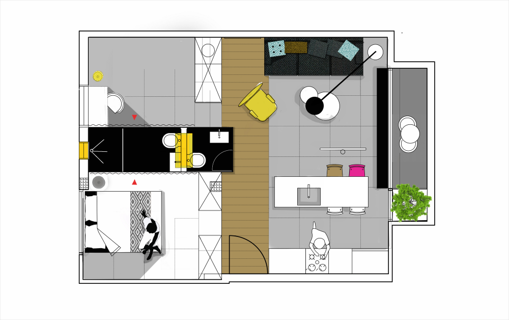 Departamentos peque os 55 metros cuadrados proyectos que for Distribucion apartamentos pequenos