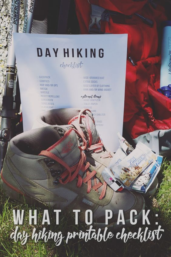 What to Pack Day Hiking Printable Checklist Hiking, Outdoors and