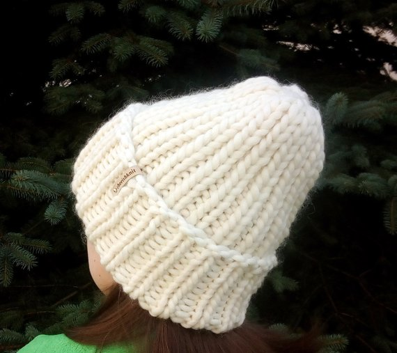 4f4ca98b84 Chunky Lamb Wool Beanie Hand Knit Hats Milk White Hat Cable Knitted Hat  Bulky Winter Hat Slouchy Bea