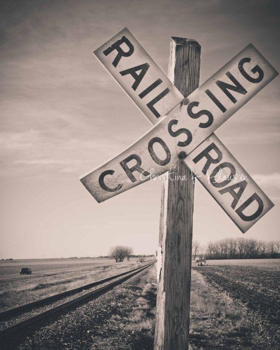 Railroad Crossing Sign Photograph. Nebraska Landscape. Train Photo. Black and White. Fine Art Photography 8x10 Print