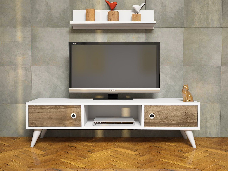Aspen Wall Unit White Walnut Tv Lowboard Board Tv Stand  # Melis Tv unitesi