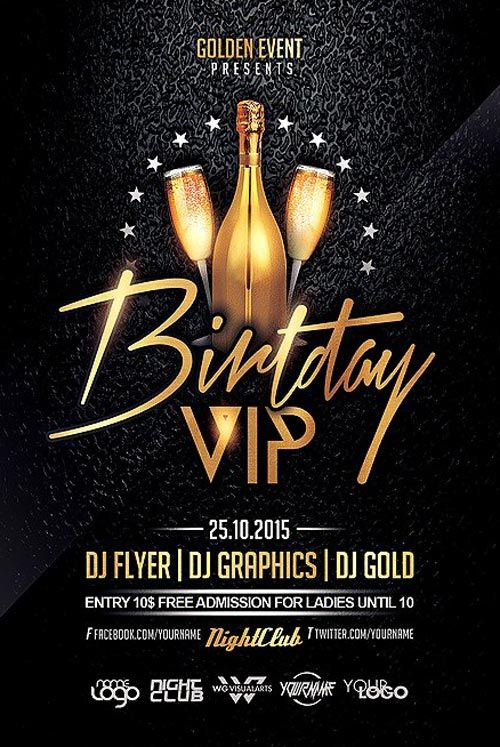 Birthday VIP Party Flyer Template - https\/\/ffflyer\/birthday - club flyer background