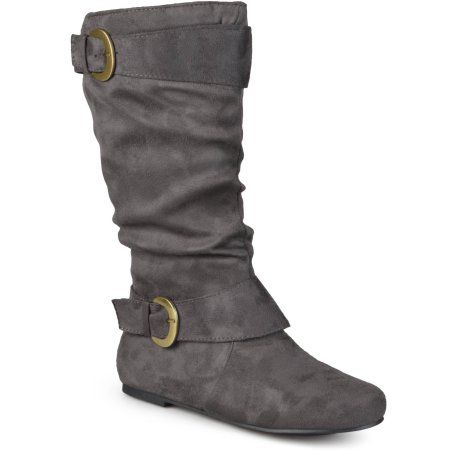 Brinley Co. Women's Slouchy Wide Calf Boots, Size: 7, Gray