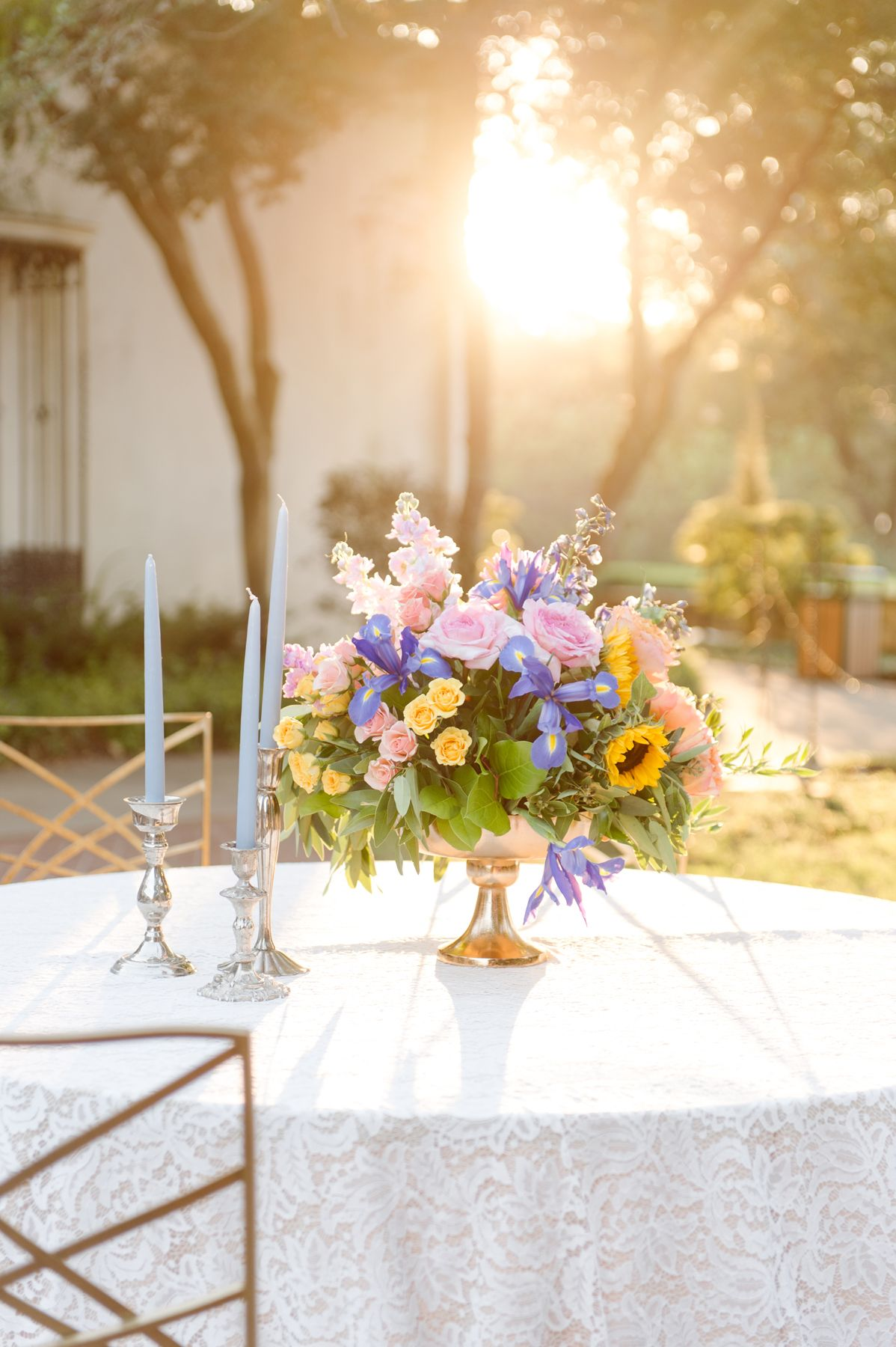 Wildflower Wedding Centerpiece In Footed Vase Weddings Events By