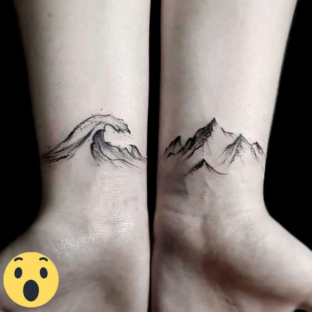 Amazing small tattoo. Ocean and Mountains.                                                                                                                                                                                 More