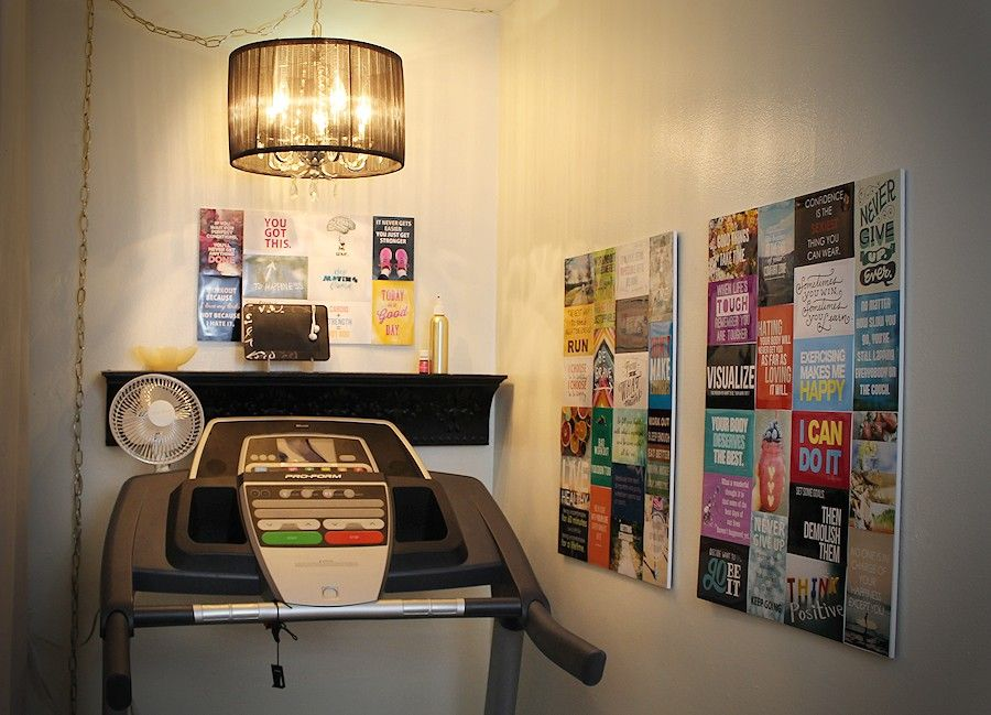 Treadmill nook create a fun exercise corner · makeover