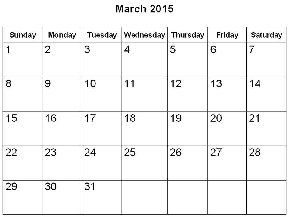 March 2015 Calendar With Holidays Printable 2 Art Craft