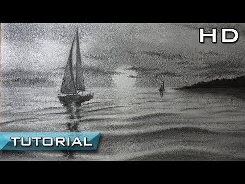 Cómo Dibujar un Velero en el Mar a Lápiz Paso a Paso - Dibujo de un ...
